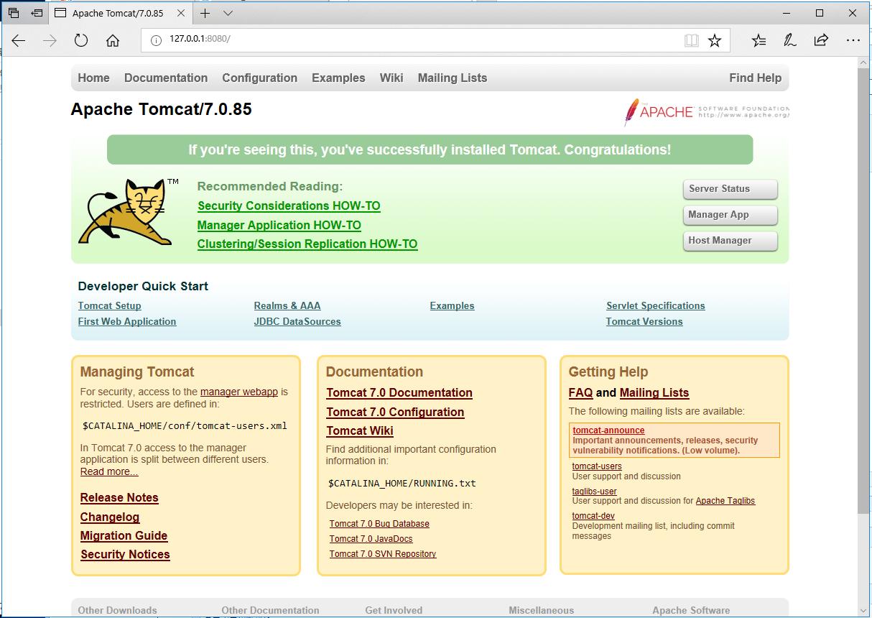apache tomcat 7.0.85 windows x64免安装绿色版及配置 精品软件 第1张
